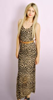 Ladies Leopard Print Maxi Dress with FREE Belt